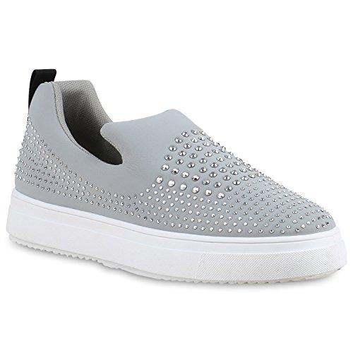 Stiefelparadies Damen Sneaker Slip Ons mit Plateau Glitzer Flandell  40 EUSchwarz Muster Autol