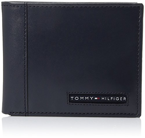 Tommy Hilfiger Men's Leather Wallet - Thin Sleek Casual Bifold with 6 Credit Card Pockets and Removable ID Window, Navy Cambridge