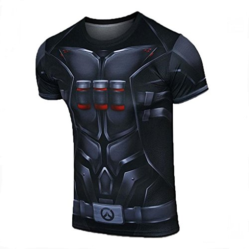 AestheticCosplay Overwatch Reaper T-Shirt | Reaper 3D Inspired Design | Reaper Muscle Shirt Compression Tshirt (XXXL) (Ninja Armor Body Suits)
