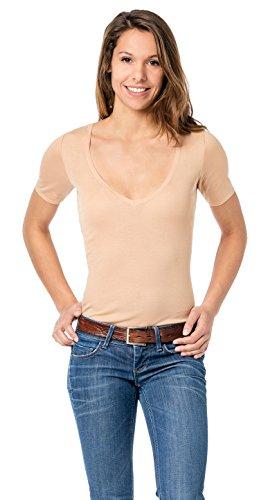 Hautfarbenes Damen Unterhemd - Unterhemd unsichtbar mit V-Ausschnitt - Business Unterhemd Damen