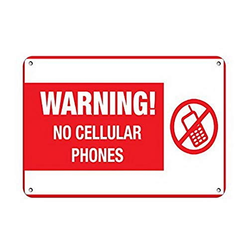 YFULL Wall Art Decor Personalized Metal Signs for Outdoors Warning No Cellular Phones Business Sign No Cell Phones Aluminum Metal Sign 8 X12 Inch Neon Light Signs
