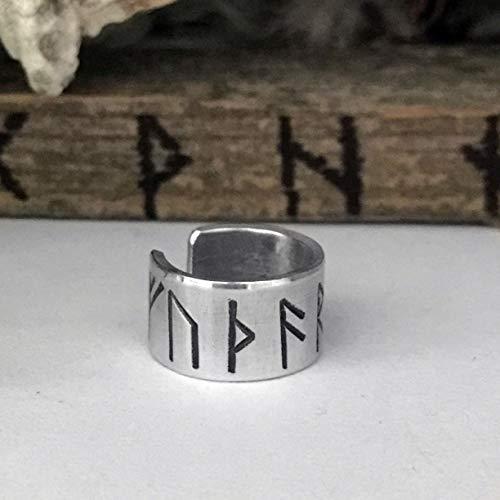 (Rune Ear Cuff - Viking Ear Cuff - Silver - for Men and Women - Viking Earrings - Viking Beard Beads)