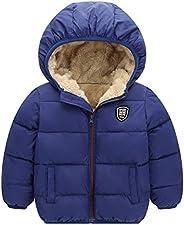 Happy Cherry Boys Girls Hooded Down Jacket Winter Warm Fleece Coat Windproof Puffer 2T-7T