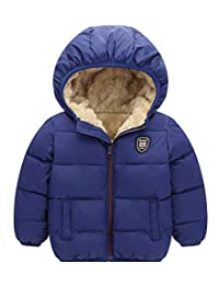 Happy Cherry Toddler Snow Jacket Hooded Coat Winter Warm Down Outwears with Zipper Clousure