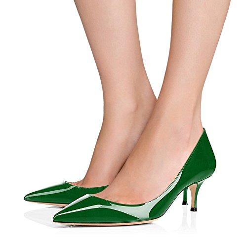EKS Frauen 6CM Spitz Kitten Heel Lackleder Kleid Party Pumps Schuhe Arbeitsschuhe Grün