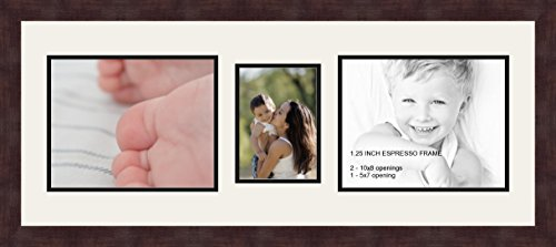 Art to Frames Double-Multimat-306-61/89-FRBW26061 Collage Frame Photo Mat Double Mat with 2-8x10 and 1-5x7 Openings and Espresso Frame