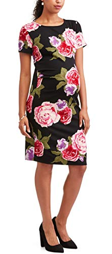 Liz Lange Maternity Dress - Liz Lange Maternity Short Sleeve Floral Bodycon Dress (Black, Maternity Small)