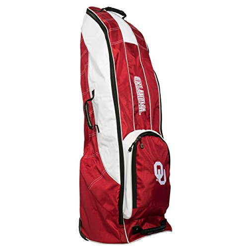 (Team Golf NCAA Oklahoma Sooners Travel Golf Bag, High-Impact Plastic Wheelbase, Smooth & Quite Transport, Includes Built-in Shoe Bag, Internal Padding, & ID Card Holder)