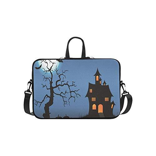 Halloween Pimpkin Castle Full Moon Bat Dead Tree Pattern Briefcase Laptop Bag Messenger Shoulder Work Bag Crossbody Handbag for Business Travelling ()
