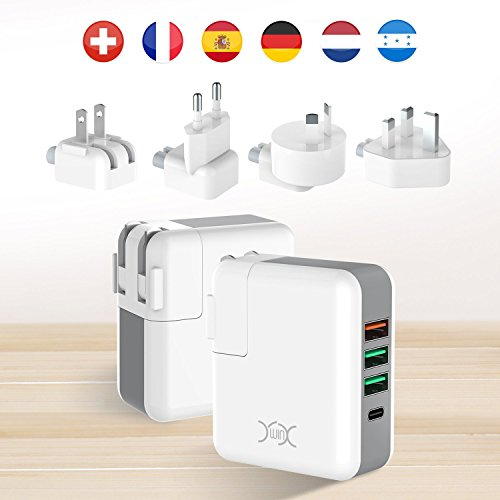 USB Charger Plug YXwin 4 Ports International around Charger Adapter utilizing UK EU US AU International Plug effective fee 30 support Type C for MacBook Wall Charger for Apple iPhone iPad Samsung Galaxy Smartphone Tablet electricity Bank CE Certificated International Chargers
