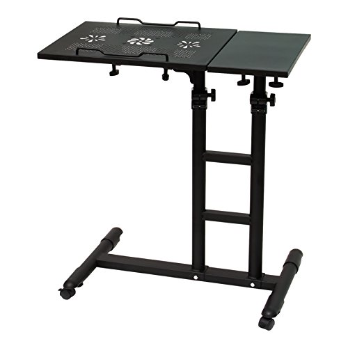 UNICOO - Height Adjustable Laptop Cart Laptop Notebook Desk Sofa Side Table Couch Table Over Bed Table Presentation Table Mobile Cart (Black - (Bed Cart)