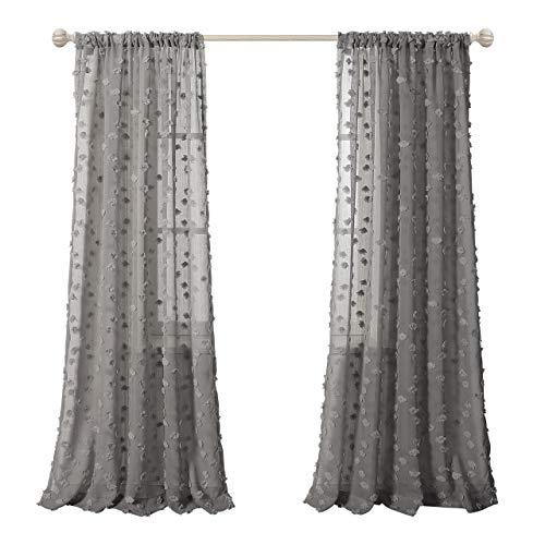 MYSKY HOME Rod Pocket Sheer Drapes 84 Inch Long Sheer Curtain with Rhombus Pom Pom Design Window Treatment Sets, Grey, 2 Panels