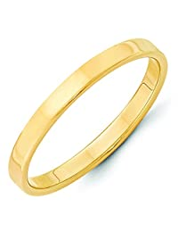 14K Yellow Gold 2.5mm High Polish Finish Lightweight Flat Pipe Cut Wedding Band