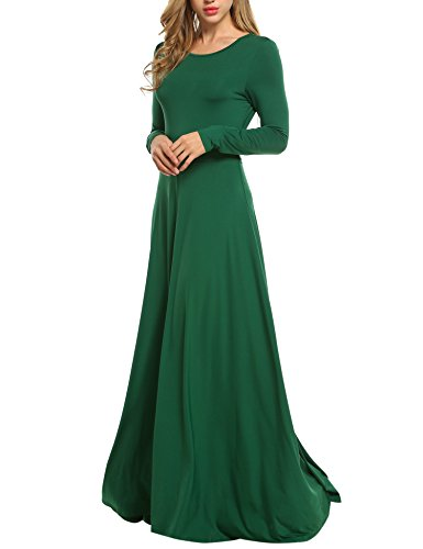 ACEVOG Womens Long Sleeve Swing Evening Party Maxi Dress with Belt Oversized,Green,Small