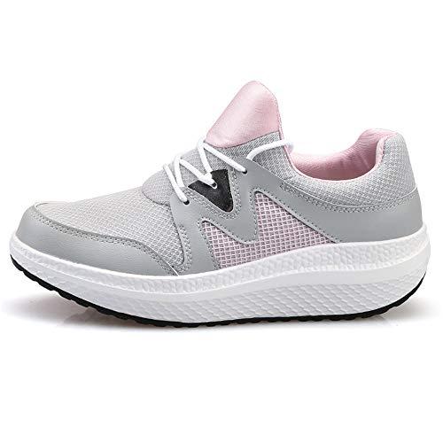 FangYOU1314 Los Zapatos de Malla Transpirable Aumentaron la Comodidad Antideslizante de 5 cm. (Color : Gris, tamaño : 39 1/3 EU) Gris