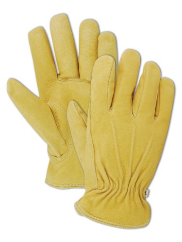 Magid B743ET-L Men's Pro Grade Collection Premium Red-Lined Grain Pigskin Gloves, Tan, Large