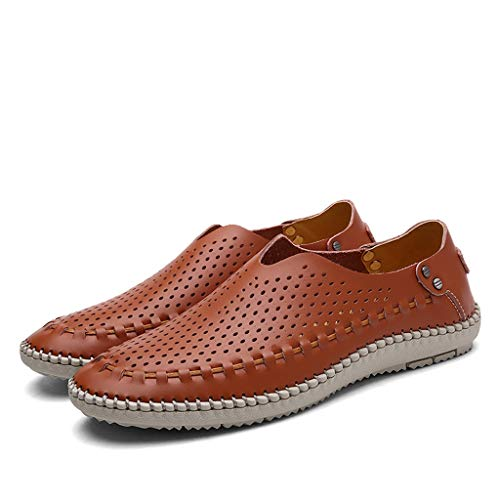 Men Loafers Shoes Mesh Breathable Casual Slip-on Lightweight Driving Boat Shoes (US:9, Brown)