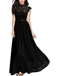 Womens Formal Floral Lace Sleeveless Evening Party Maxi Dress