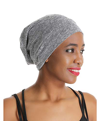 Slap Night Cap Sleep Hat - Grey Women Organic Bamboo Cotton Satin Silk Satun Satin lined Bonnet Slouchy Summer Scarf Hair Cover Beanie For Women Men Lady Lightweight Light Thin Jersey Chemo ...