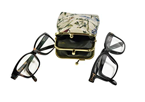 Home-X - Double Tapestry Snap-Shut Eyeglass Case, Holds Two Pairs at Once   Perfect for Readers an from Home-X