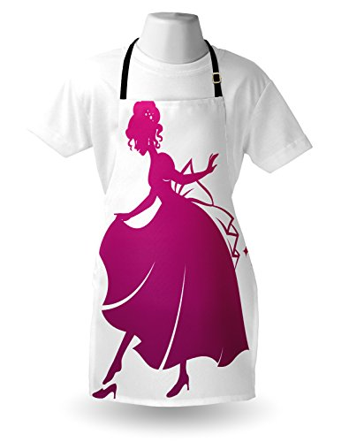Lunarable Princess Apron Silhouette Of Cinderella Wearing Her Glass Slipper Popular Kids Fairy Tale Unisex Kitchen Bib With Adjustable Neck For Cooking Gardening Adult Size Magenta White