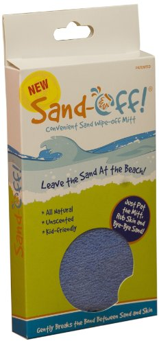 Sand-Off! Powder-Infused Mitt Beach Towel for All-natural Sand Removal - Blue - 1 Pack