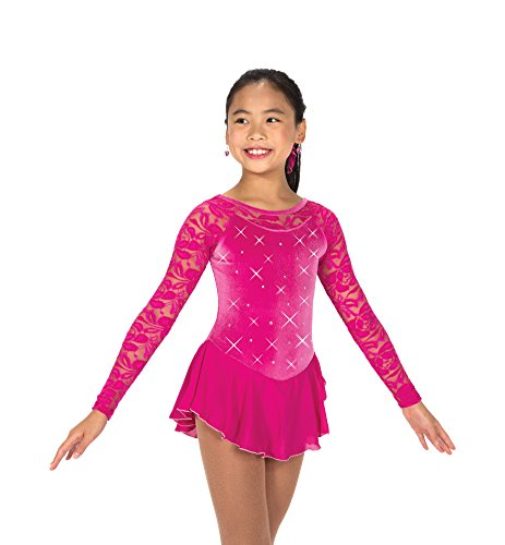 Jewelled Lace - Jerry Skating World Jerry's Ice Skating Dress 149 - Jewelled Lace Dress (Fuchsia, Size 6-8)