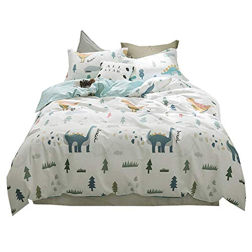 AMWAN Cartoon Dinosaur Kids Bedding Set Queen Soft Cotton Full Duvet Cover Set for Boys Girls Modern Reversible Teens Children Comforter Cover Set 3 Piece Cotton Bedding Collection Full Queen ()