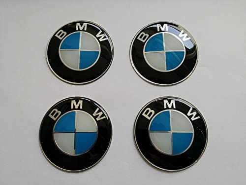 Juego de 4 pegatinas 65 mm de diámetro emblema tapas llantas, neumáticos, tapabujes, logo azul blanco