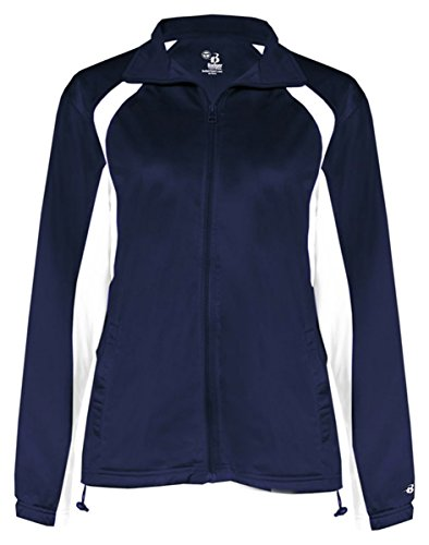 - Badger Sport Ladies' Hook Brushed Tricot Polyester Full Zip Jacket - 7902 - Navy / White - Small