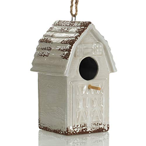 Drew DeRose Distressed White Barnhouse 8 x 6 Ceramic Birdhouse With Twine Hanger (Birdhouse Distressed)