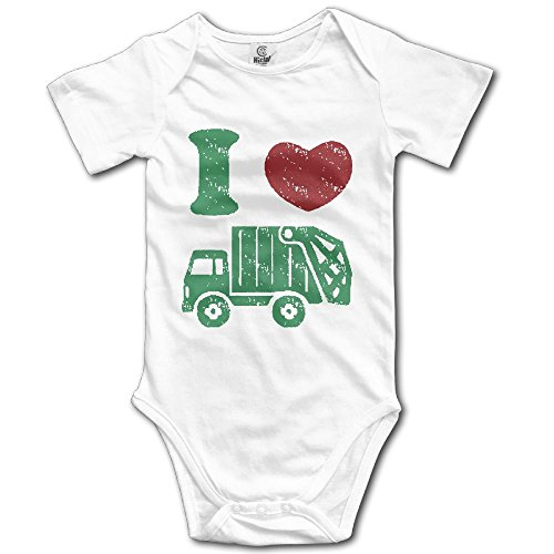 Newborn Baby I Heart Love Trash Garbage Trucks Short-Sleeveless Romper Bodysuit Jumpsuit Baby Clothes Outfits 6 M (White Trash Outfit)