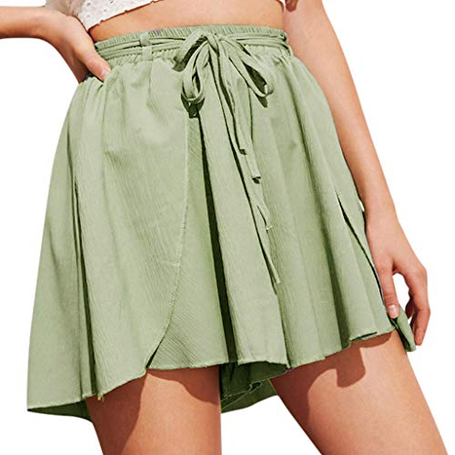 Jumaocio Shorts Women High Elastic Waist Wide Leg Chiffon Culottes Shorts High Waist Straight Button Embellished Pocket Wide Leg Shorts Green