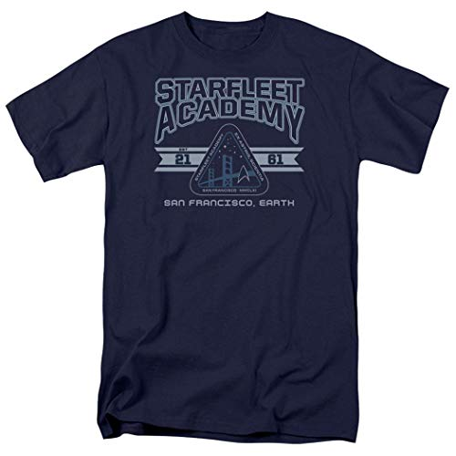 (Popfunk Star Trek Retro Starfleet Academy T Shirt (Medium) Blue)