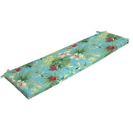 Better Homes and Gardens- Teal Aruba Palm Outdoor Bench Cushion (Better Homes And Gardens Outdoor Seat Cushions)
