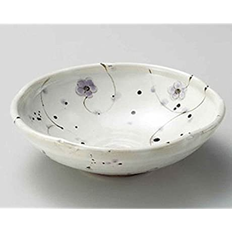 Purple Flower 6 7inch Set Of 10 Large Bowls White Ceramic Made In Japan