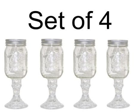 Mason Jar Wine Glass Stemware, Set of 4]()