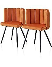 TUKAILAI 1/2 szt. unikalne aksamitne krzesło do jadalni grube wyściełane siedzisko tapicerowane z czarnymi metalowymi nogami do jadalni krzesło akcentujące do sypialni nowoczesne wypoczynek fotel wanna krzesło do salonu (pomarańczowy, 2)