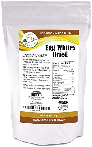 Judee's Dried Egg Whites (8 oz) (Non-GMO, Pasteurized, Made in USA, Produced from the Freshest of Eggs)(2 lb Value Size Available Also)
