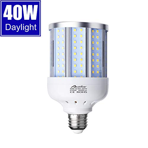 40W LED Corn Light Bulb for Indoor Large Area, E26 4000Lm 6500K Cool White,Super Bright Daylight LED Corn Bulb for Garage Barn Workshop Warehouse Factory Porch Backyard High Bay, 85V-265V