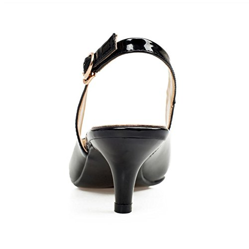 TAOFFEN Mujer Simple Cerrado Punta Espigon Tacon de Aguja Medio Slingback Sandalias con Hebilla Negro