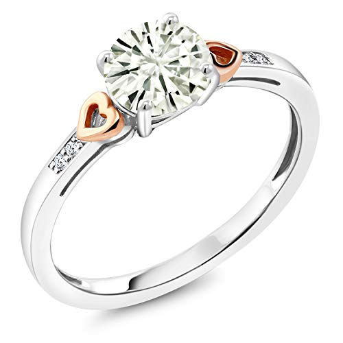 (925 Sterling Silver and 10K Rose Gold Solitaire w/Accent Stones Ring Forever Classic (KLM) Round 1.00ct (DEW) Created Moissanite by Charles & Colvard and Diamond (Size 6))