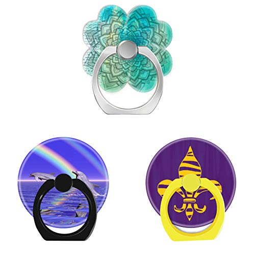 - Bsxeos 360°Rotation Cell Phone Ring Holder with Car Mount Work for All Smartphones and Tablets-Dolphins and Rainbow in Ocean-Gold Tiger Stripe Fleur de lis Purple-Mandala Design(3 Pack)