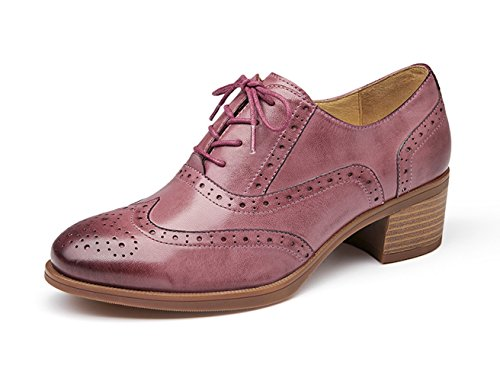 Honeystore Womens Retro Brogue Carving Leather Loafer Flats Lace Up Shoes Pink yMykao