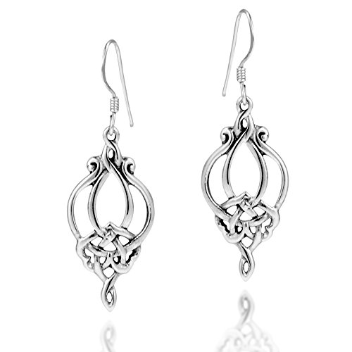 Gorgeous Celtic Filigree Knot Drop .925 Sterling Silver Dangle Earrings