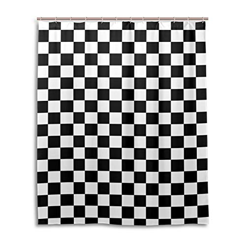 THUATIME Shower Curtain Fabric Black White Checkerboard with Hooks Bath Curtain, 60