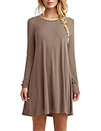 ac2abdb0da7e Women s Casual Plain Fit Flowy Simple Swing T-Shirt Loose Tunic Dress