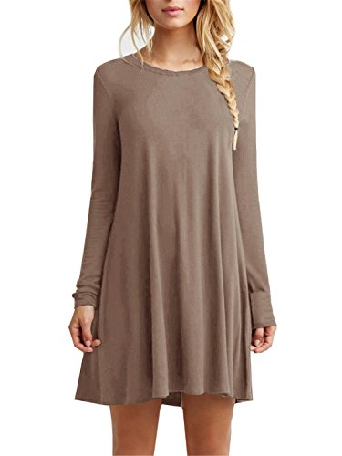 [Tinyhi Women's Casual Plain Long Sleeve Loose Swing Cotton Dress, Coffee, Medium] (Witch Cutouts)