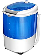 COSTWAY Mini Washing Machine Small Portable Compact Laundry Counter Top Washer 5.5lbs Capacity Single Tub, Energy and Space Saving with Spin Cycle Basket (Blue)