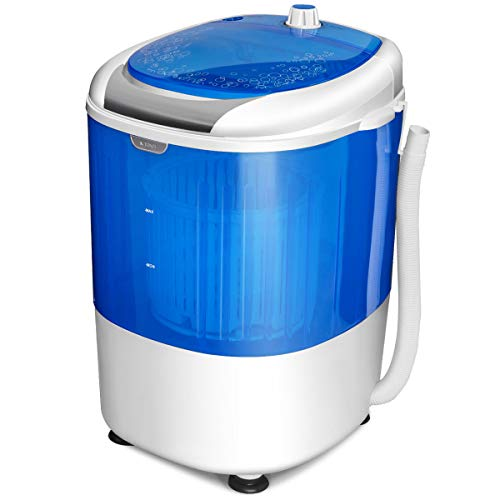 COSTWAY Washing Machine, Mini Small Portable Laundry Machines Compact Counter Top Washer 5.5lbs Capacity Single Tub, Energy and Space Saving with Spin Cycle Basket (Blue)
